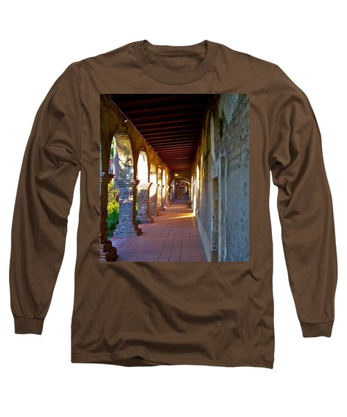 The Corridor By The Serra Chapel San Juan Capistrano Mission California Long Sleeve T-Shirt