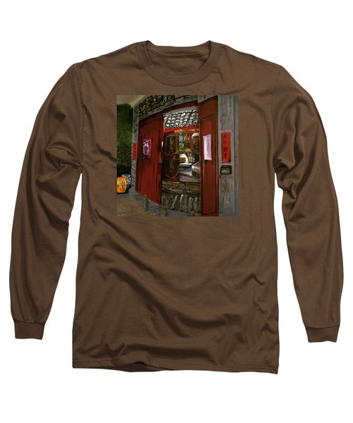 Long Sleeve T-Shirt featuring the painting The Red Door by Belinda Low
