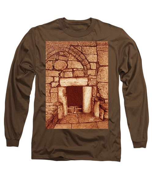 Long Sleeve T-Shirt featuring the painting The Door Of Humility At The Church Of The Nativity Bethlehem by Georgeta Blanaru
