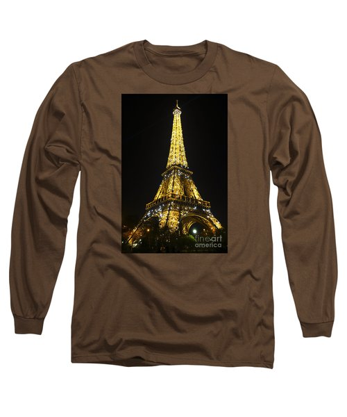 The Eiffel Tower At Night Illuminated, Paris, France. Long Sleeve T-Shirt
