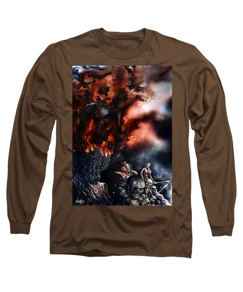 Long Sleeve T-Shirt featuring the painting The Fall Of Azturath by Curtiss Shaffer