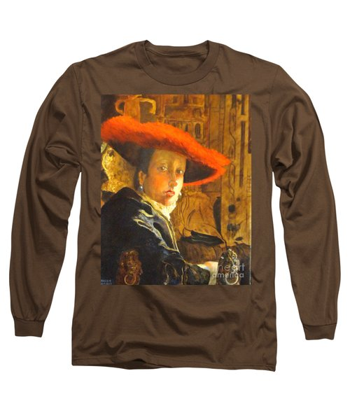 The Girl With The Red Hat After Jan Vermeer Long Sleeve T-Shirt
