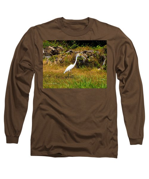Egret Against Driftwood Long Sleeve T-Shirt