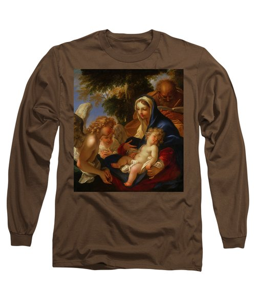 Long Sleeve T-Shirt featuring the painting The Holy Family With Angels by Seastiano Ricci