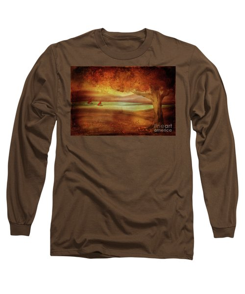 Long Sleeve T-Shirt featuring the digital art The Last Sail Of The Season  by Lois Bryan