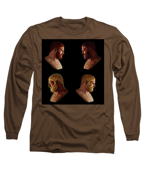 Long Sleeve T-Shirt featuring the mixed media The Many Faces Of Hercules 2 by Shawn Dall