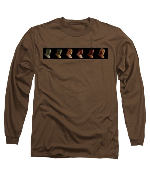 Long Sleeve T-Shirt featuring the mixed media The Many Faces Of Hercules by Shawn Dall