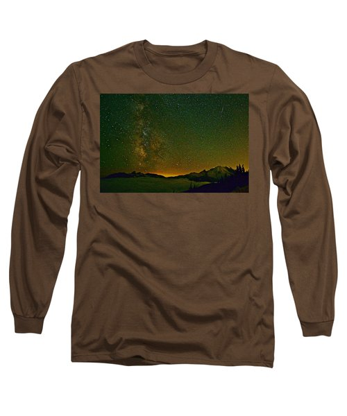 The Milky Way And Mt. Rainier Long Sleeve T-Shirt