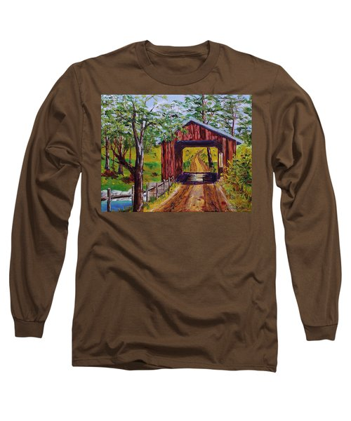 The Old Covered Bridge Long Sleeve T-Shirt by Mike Caitham
