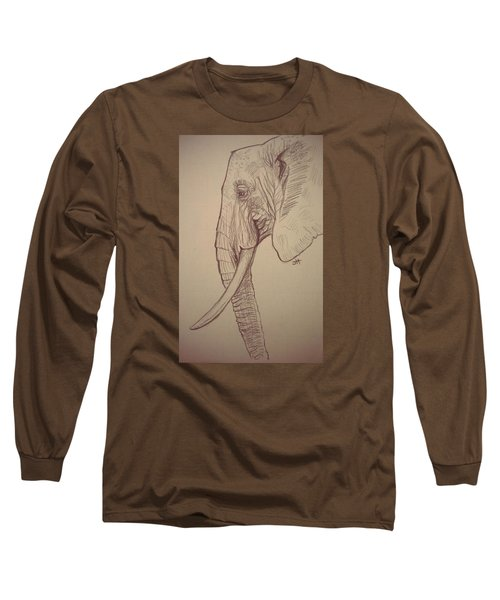 Long Sleeve T-Shirt featuring the drawing The Old Leader by Jennifer Hotai