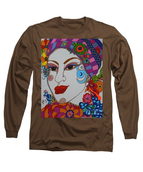 Long Sleeve T-Shirt featuring the painting The Opera Singer by Alison Caltrider