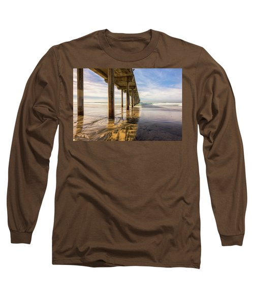 The Pier And Its Shadow Long Sleeve T-Shirt by Joseph S Giacalone