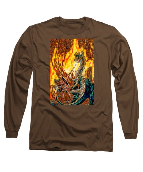 Long Sleeve T-Shirt featuring the painting The Prince Battles The Dragon by Mario Carini