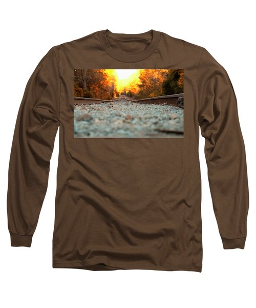 Long Sleeve T-Shirt featuring the digital art The Railroad Tracks From A New Perspective by Chris Flees