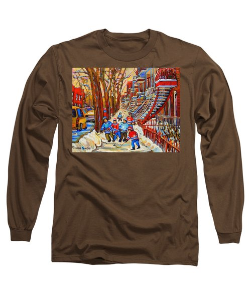 The Red Staircase Painting By Montreal Streetscene Artist Carole Spandau Long Sleeve T-Shirt by Carole Spandau
