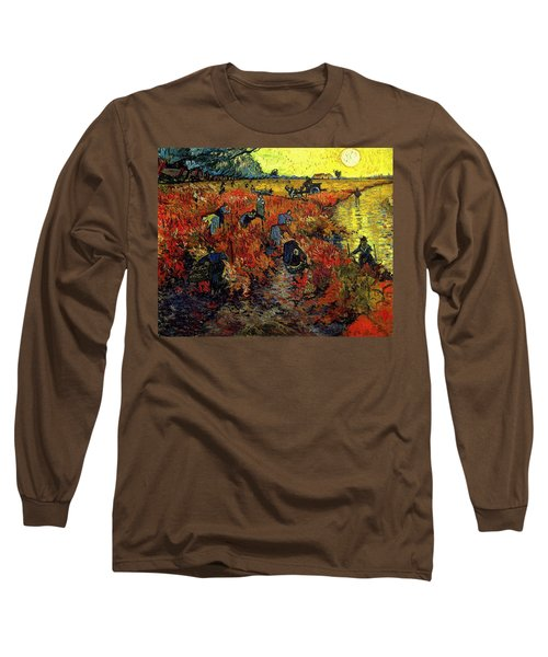 Long Sleeve T-Shirt featuring the painting The Red Vineyard At Arles by Van Gogh