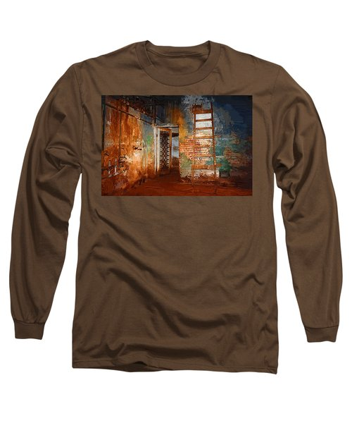 Long Sleeve T-Shirt featuring the painting The Renovation by Holly Ethan