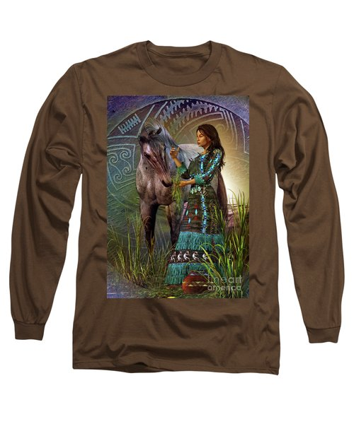 Long Sleeve T-Shirt featuring the digital art The Horse Whisperer by Shadowlea Is