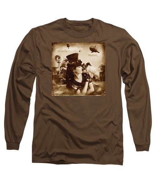 The Traveler Vintage Sepia Version Long Sleeve T-Shirt by Alessandro Della Pietra