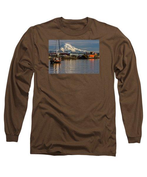 Thea Foss Waterway And Rainier 1 Long Sleeve T-Shirt