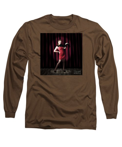 Theater Performer In Front Of Red Stage Curtains Long Sleeve T-Shirt