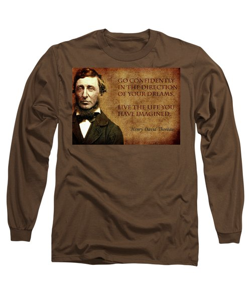 Thoreau Quote 1 Long Sleeve T-Shirt by Andrew Fare