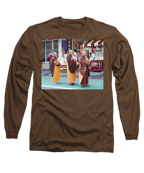 Long Sleeve T-Shirt featuring the photograph Three Buddhist Monks Chant Scriptures by Yali Shi