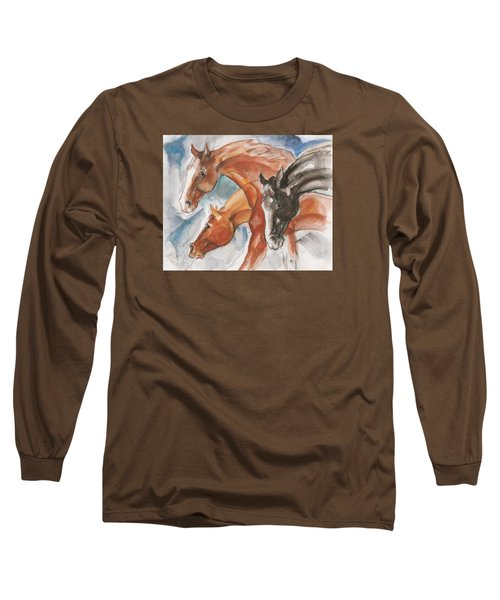 Three Horses Long Sleeve T-Shirt by Mary Armstrong