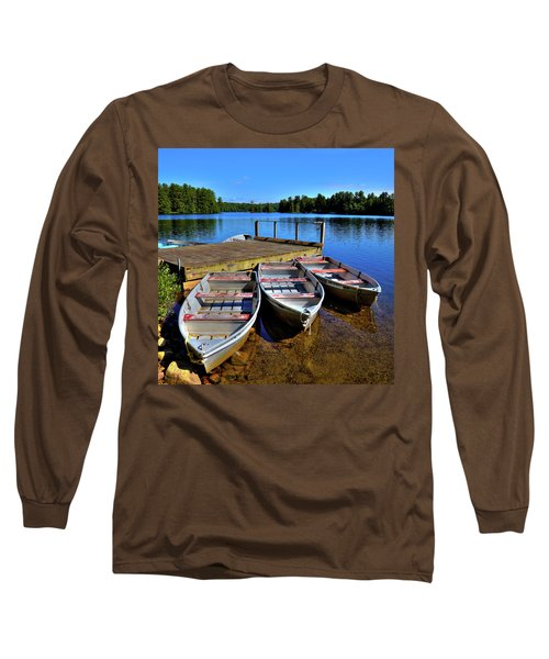 Three Rowboats Long Sleeve T-Shirt by David Patterson