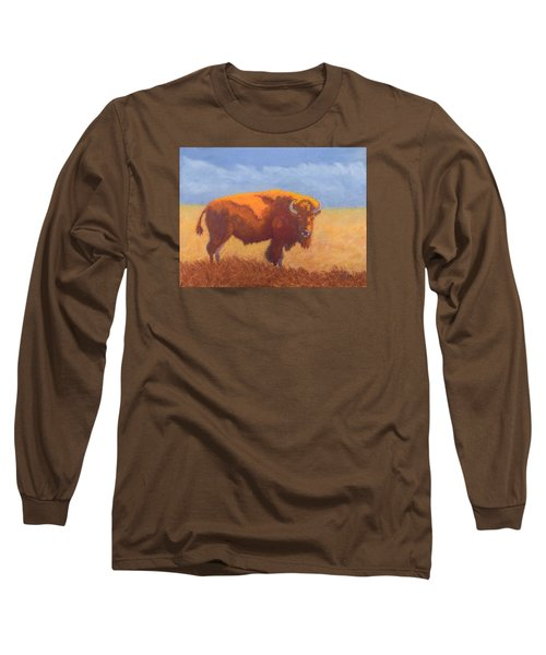 Long Sleeve T-Shirt featuring the painting Thunder On The Prairie by Nancy Jolley