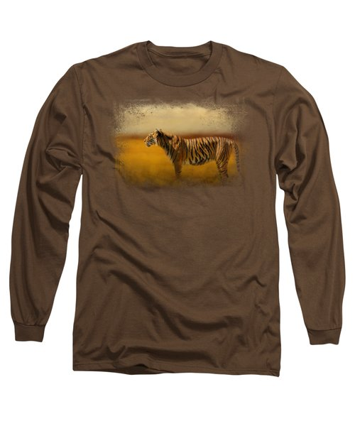 Tiger In The Golden Field Long Sleeve T-Shirt by Jai Johnson