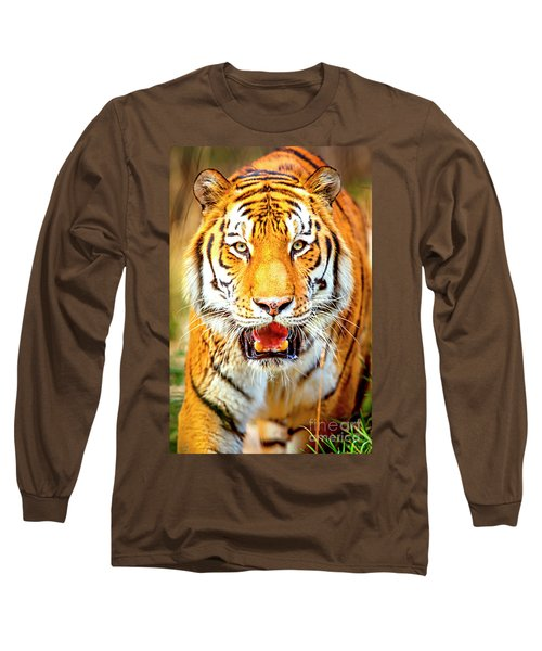 Tiger On The Hunt Long Sleeve T-Shirt by David Millenheft