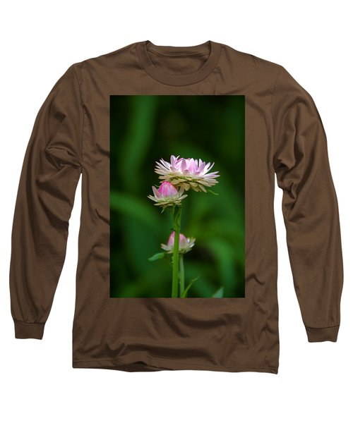 Long Sleeve T-Shirt featuring the photograph Tiny Dahlias Green Aura by Byron Varvarigos