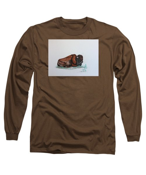 Long Sleeve T-Shirt featuring the drawing Tired Bison by Ellen Canfield