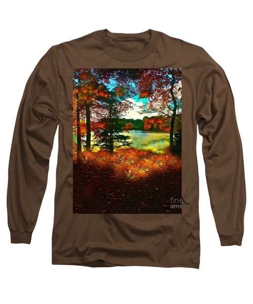 Trees And Shadows In New England Long Sleeve T-Shirt by Saundra Myles