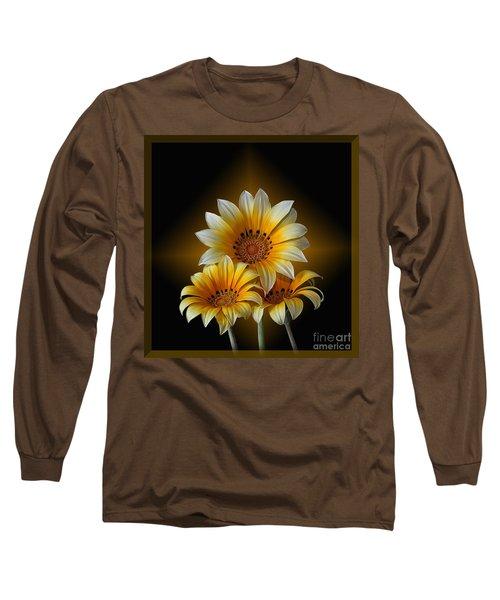 Triple Sunshine Black And Gold Long Sleeve T-Shirt by Shirley Mangini