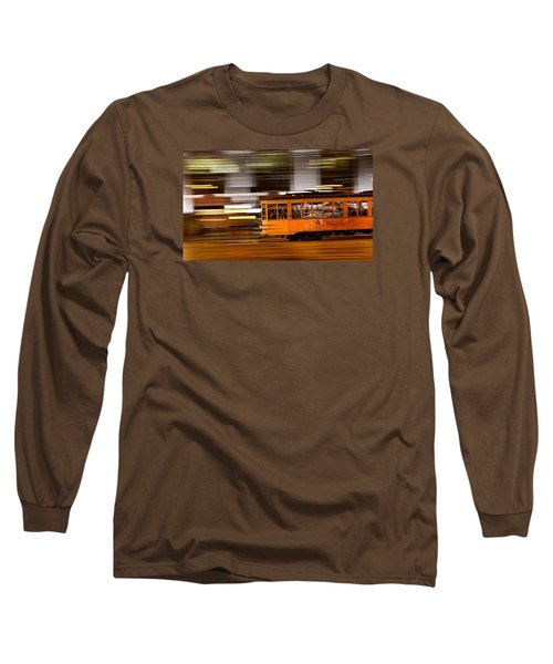 Trolley 1856 On The Move Long Sleeve T-Shirt by Steve Siri