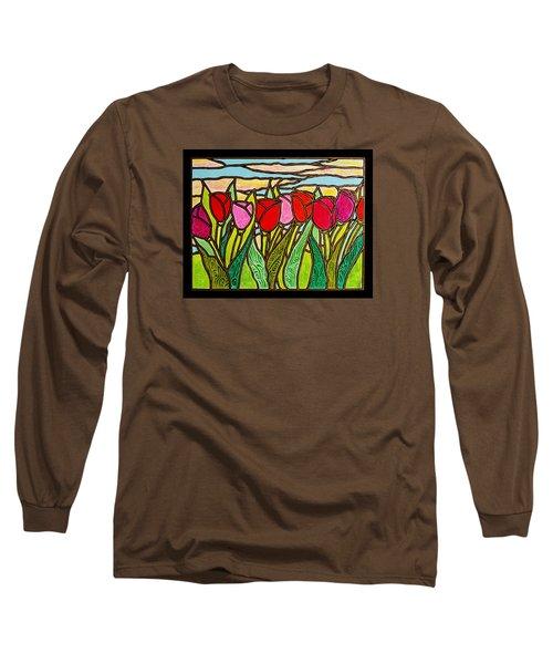 Tulips At Sunrise Long Sleeve T-Shirt by Jim Harris