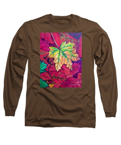 Turning Maple Leaf In The Fall Long Sleeve T-Shirt by Kimberlee Baxter
