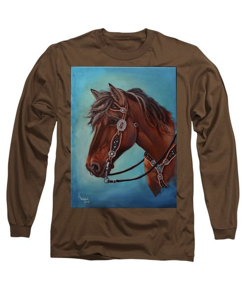 Turquoise And Silver Long Sleeve T-Shirt