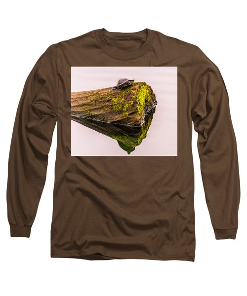 Turtle Basking Long Sleeve T-Shirt by Jerry Cahill