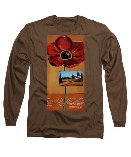 Tuscan Poppy Postcard Long Sleeve T-Shirt