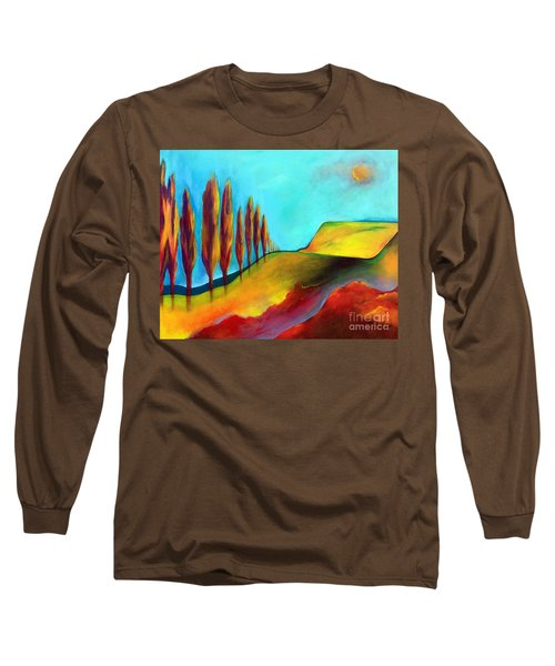 Long Sleeve T-Shirt featuring the painting Tuscan Sentinels by Elizabeth Fontaine-Barr