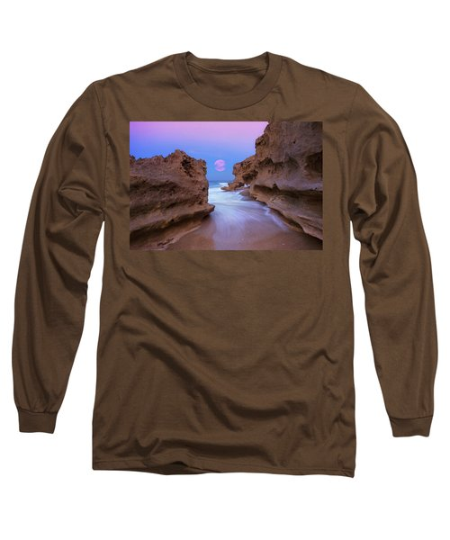 Twilight Moon Rising Over Hutchinson Island Beach Rocks Long Sleeve T-Shirt