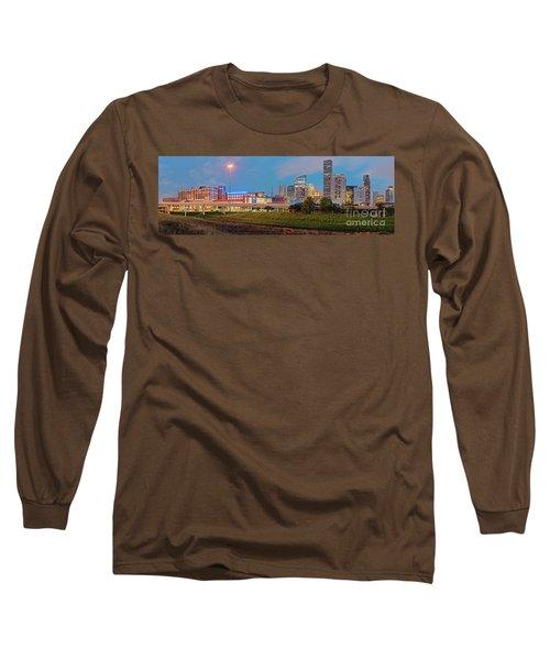 Twilight Panorama Of Downtown Houston Skyline And University Of Houston - Harris County Texas Long Sleeve T-Shirt