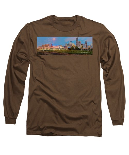 Twilight Panorama Of Downtown Houston Skyline And University Of Houston - Harris County Texas Long Sleeve T-Shirt