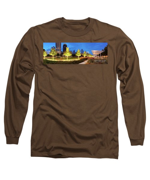 Twilight Panorama Of Klyde Warren Park And Downtown Dallas Skyline - North Texas Long Sleeve T-Shirt