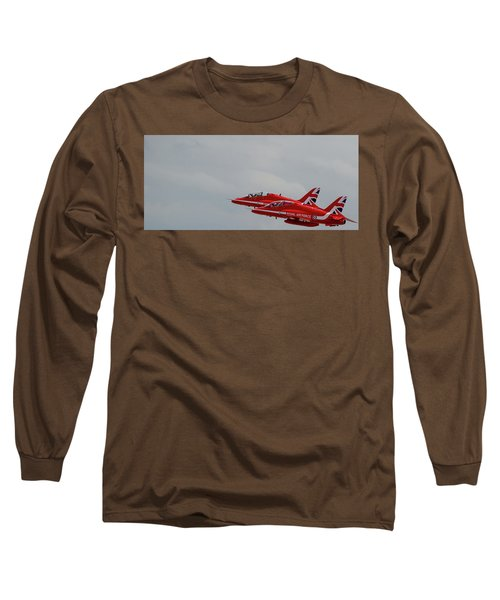Long Sleeve T-Shirt featuring the photograph Twin Red Arrows Taking Off - Teesside Airshow 2016 by Scott Lyons