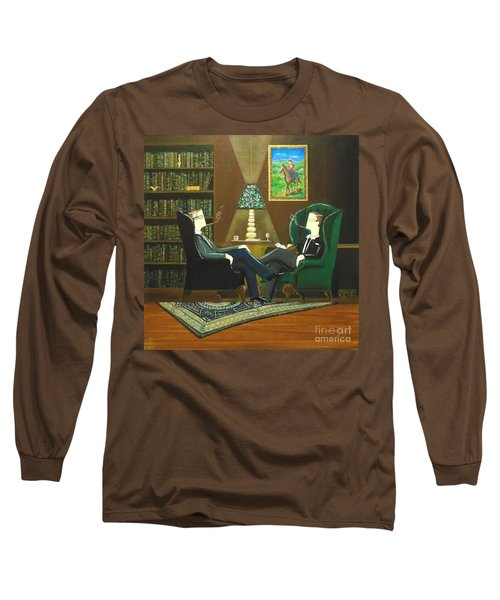 Two Gentlemen Sitting In Wingback Chairs At Private Club Long Sleeve T-Shirt