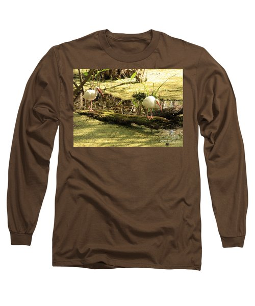 Two Ibises On A Log Long Sleeve T-Shirt by Carol Groenen